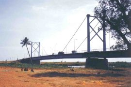 "<div style=""text-align:center; color:white;""><div style=""font-size:17px; "">Bridge Rehabilitation on the Limpopo River</div><br>Client: ANE / DEN (Mozambique)<br>Year: 1995 – 1996 </div>"