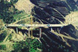 """<div style=""""text-align:center; color:white;""""><div style=""""font-size:17px; """">Viaduct to Km 1 +391</div><br>Client: Câmaras Municipais de Baião e Resende<br>Year: 1996 – 1998</div>"""