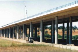 """<div style=""""text-align:center; color:white;""""><div style=""""font-size:17px; """">Viaduct over the Roxo River Valley on the A2 *</div><br> Client: Brise <br>Year: 2000 – 2001</div>"""
