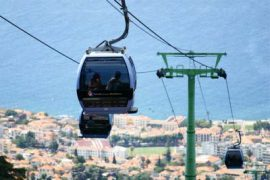 """<div style=""""text-align:center; color:white;""""><div style=""""font-size:17px; """">Design and build of the Botanical Garden Cable Car in Funchal*</div><br>Client: Município do Funchal<br>Year: 2004 – 2005</div>"""