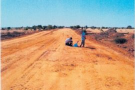 """<div style=""""text-align:center; color:white;""""><div style=""""font-size:17px; """">Kaédi-Gouraye Road (Mauritania)</div><br>Client: Ministry of Equipment and Transport <br>Year: 2007- 2013</div>"""