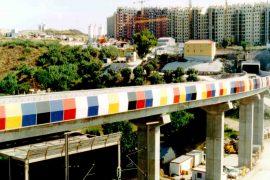 """<div style=""""text-align:center; color:white;""""><div style=""""font-size:17px; """">Olaias Viaduct</div><br>Client: Metropolitano de Lisboa<br>Year: 1995 – 1996 /div>"""